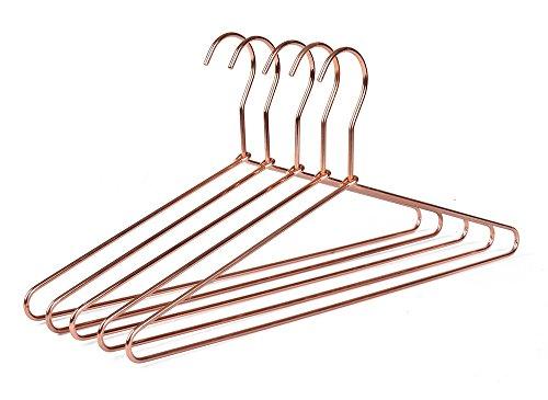 10 Sturdy Cooper Rose-Gold Metal Coat Hangers Heavy Duty Suit Hangers (10)