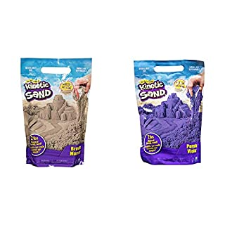 Kinetic Sand The Original Moldable Sensory Play Sand, Brown, 2 Lb & The Original Moldable Sensory Play Sand, Purple, 2 Pounds