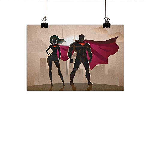 (Littletonhome Superhero Abstract Painting Super Woman and Man Heroes in City Solving Crime Hot Couple in Costume Natural Art 24