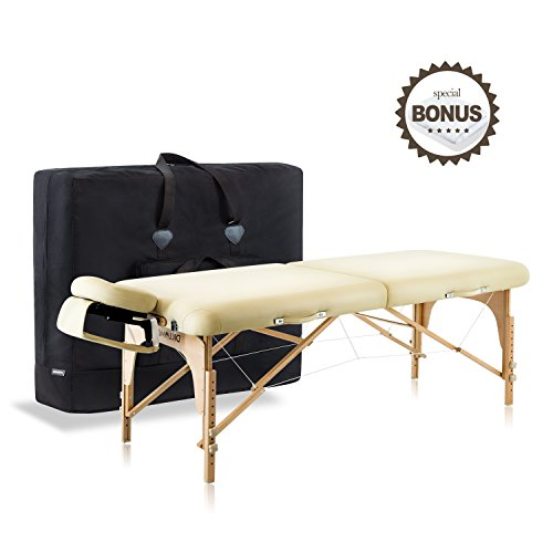 Dr.lomilomi Large Professional Hardwood Portable Massage Table Spa Bed 001 Package (001-Large Table, Vanilla)