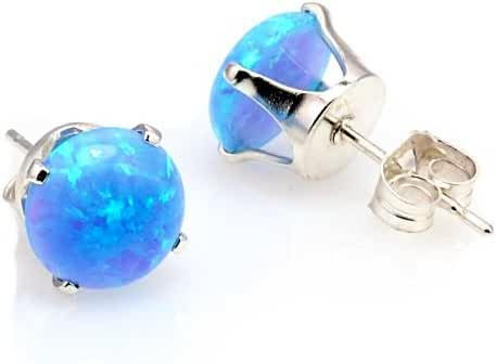 Trustmark 925 Sterling Silver 6mm Azure Blue Created Opal Crown Set Cab Stud Post Earrings, Sky