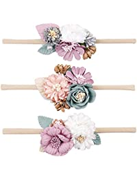 410c5de757f CN Baby Girls Floral Headbands Nylon Flowers Crown Hair Bow Elastic Bands  Newborn Infant Toddlers Kids