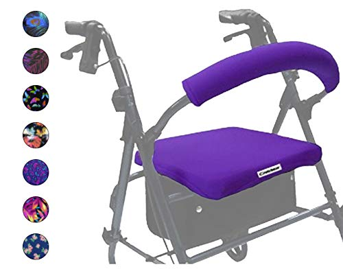 Crutcheze Purple Rollator Walker Seat and Backrest Covers Designer Fashion Accessories Made in USA