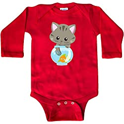 inktastic - Kitty and The Fish Bowl, Long Sleeve Creeper 18 Months Red 35a84