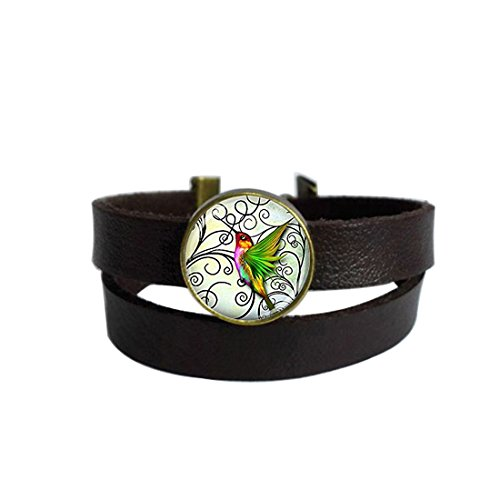 LooPoP Vintage Punk Dark Brown Leather Bracelet Hummingbird Jewelry Green Hummingbird Belt Wrap Cuff Bangle Adjustable