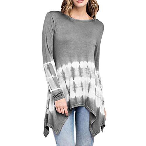 Quatre d'automne Sweatshirt Longues Femme d'hiver Fantaisiez pour Gris Couleurs Irrgulier Ample Dgrad Manches de Chemisier Blouse Chemisier wpw7Uq