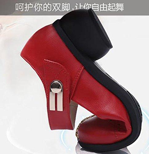Abby 6822 Womens Comfort Estate Fresco Chiuso Tondo Mary Jane Traspirante Tacco Blocco Moderno Squre Danza Sneakers Rosso