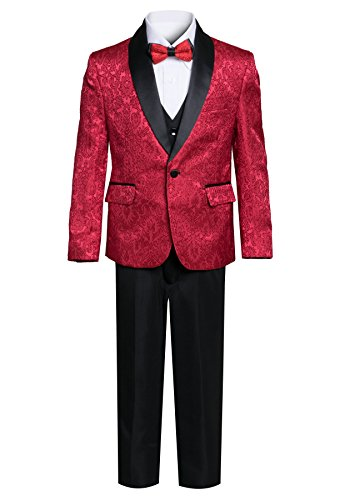 Boys Premium Paisley Patterned Shawl Lapel Tuxedos - Many Colors (14, Red with Black) -