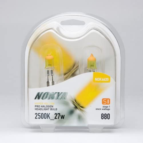 Nokya Hyper Yellow Pro Halogen Headlight Bulbs 880 27w 2500K Stage 1 NOK6620 NEW