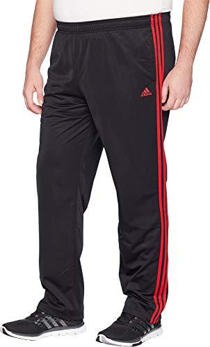 adidas Men's Big & Tall Essentials 3-Stripes Regular Fit Tricot Pants Black/Scarlet Medium 34 Tall 34 by adidas (Image #1)