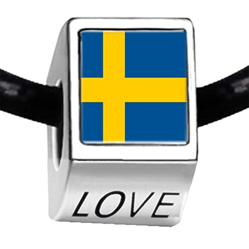 GiftJewelryShop Silver Plated Sweden Flag Photo Love Charm Bead Bracelets European Bracelets