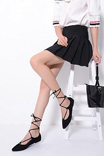 Mila Lady Irma Mode Nouvelle Dentelle Point Toe Chaussures Plates. Noir