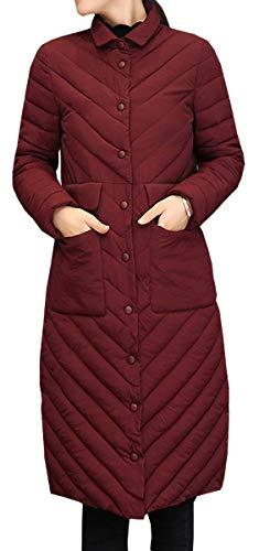 Manica Blackmyth Cappotto Da Cotone Lunga Invernale Casual Slim In Donna Rosso Fit Lungo CRwHCqr
