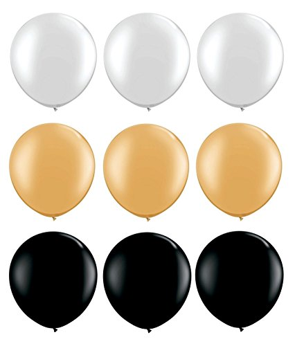 Elecrainbow 100 Pack 12 Inch 3.2 g/pc Thicken Round Metallic Pearlescent Latex Balloons - Shining White + Black + Gold Balloons for Party Supplies and Decorations -