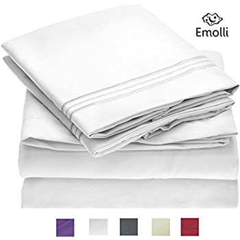 Emolli Bed Sheet Set,Supreme Collection 1800 Double Brushed Microfiber Luxury Bed Sheets Set With Anti-wrinkle, Anti-fade, Stain Resistant, Hypoallergenic, 4 Pieces - White (Queen Size)