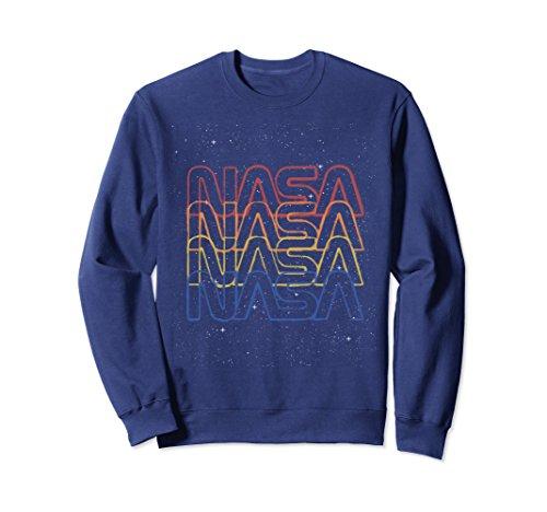 Unisex NASA Repeating Rainbow Logo Stars Retro Vintage Sweatshirt Large Navy (Vintage Pullover)