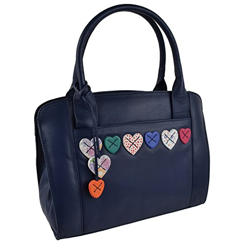 Navy Ladies LEATHER Shoulder Handbag BAG Grab Lucy Hearts by Collection MALA 7v7rwq