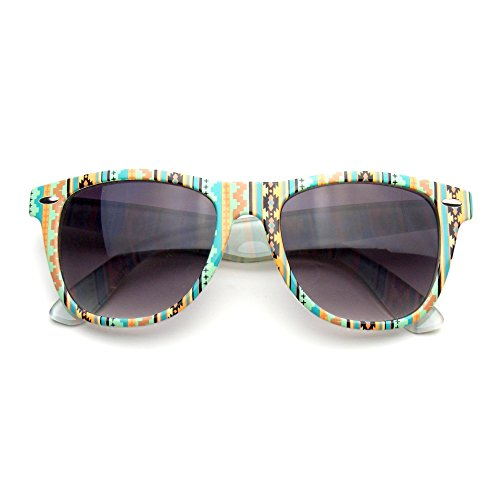 Retro Indie Fun Pattern Color Assorted Print Sunglasses (Geometric - Eyewear Fun