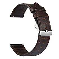 Gear S3 Classic Band / Gear S3 Frontier Band, V-Moro 22mm Genuine Leather Watch Band Vintage Crazy Horse Bracelet Strap For Samsung Gear S3 Classic Gear S3 Frontier Sports Smartwatch (Coffee)