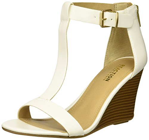 Kenneth Cole REACTION Women's 7 Ava Crave T-Strap Wedge Sandal White collections cheap price cheap fast delivery cheap amazing price outlet shop for sast for sale hqr51