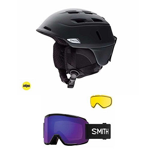 Smith Optics Matte Black Camber Adult Ski/Snowmobile Helmet and Squad Snow Goggle (Choose Your Color) (Black, Violet Goggle, - Optics Smith Discount