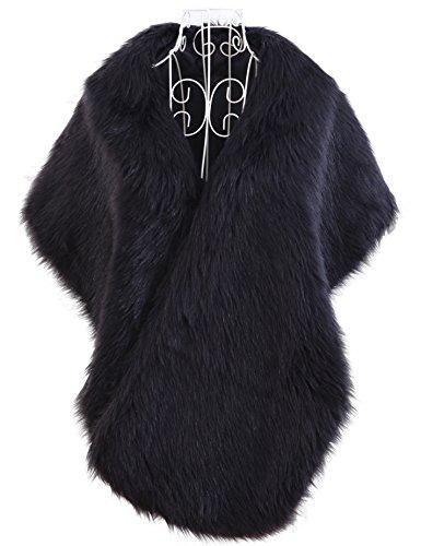 Curve Faux Fur Shawl Wrap Stole Cape for Women, Black