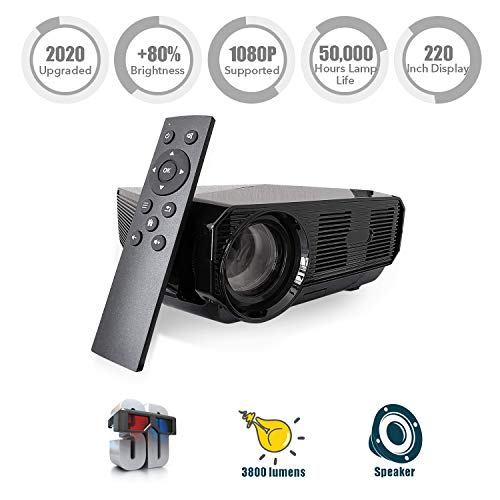 Video Projector Portable, Nuprojector Full HD HDMI VGA LED Supports 1080p, Native 720p 45-200″ Projection Size w. Speaker, 3800 Lumens (2019 Version) (Rifle)