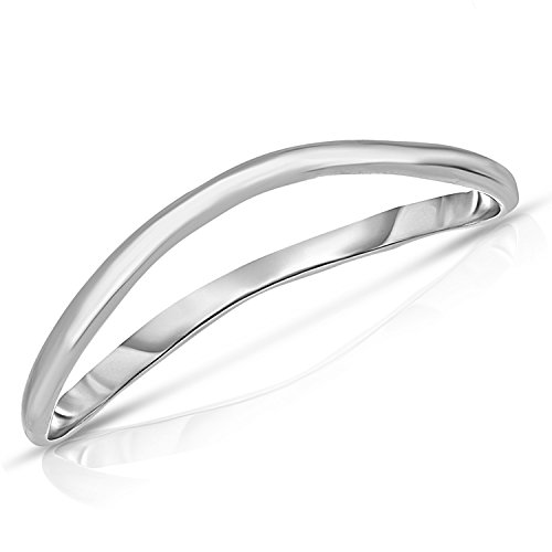 Thin Comfort Fit Curved Wave Thumb Ring (1.5mm) - 10k White Gold - Size -
