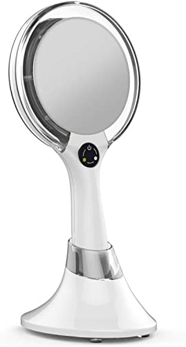 Starlite Handheld Rechargeable Lighted Makeup Mirror with 1X 5X Magnification, Dual Sided Vanity Mirror with Bright and Warm Light, Cordless Rechargeable Mirror White
