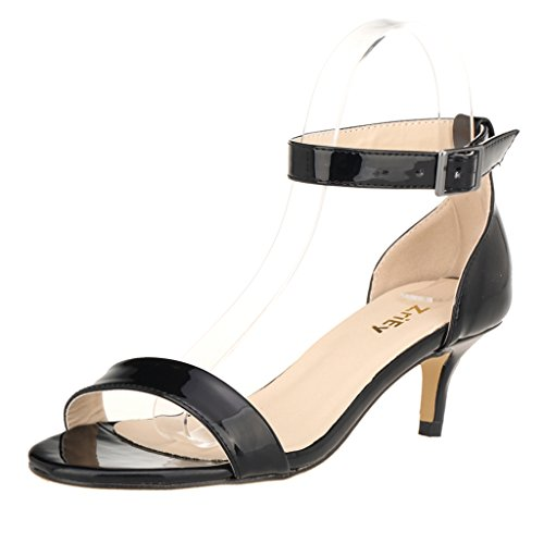 ZriEy Women Sexy Open Toe Ankle Straps Low Heel Sandals Black, 8.5 M US/39 M - Leather Ladies Heels Sandals Black