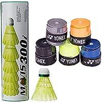 Yonex Mavis 300i Nylon Badminton Shuttlecocks (Green) & Etech 902 Pack of 5 Grips
