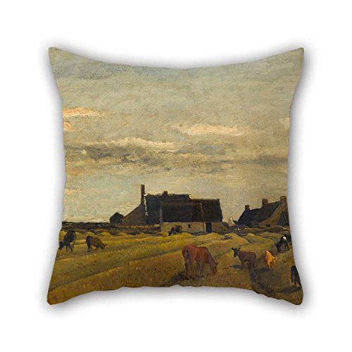 TonyLegner Oil Painting Charles-Fran?ois Daubigny - Farm at Kerity, Brittany Pillowcase Best for Valentine Monther Home Saloon Home Study Room 20 X 20 Inches / 50 by 50 cm(2 Sides)
