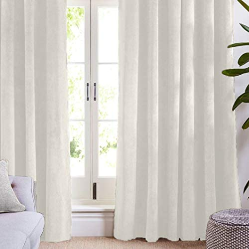 Maison Atlas Velvet Window Panel Rod Pocket Back Tab, Cotton Lined Thermal Curtain, Solid Premium Velvet Collection, 108 x50 , Pearl White