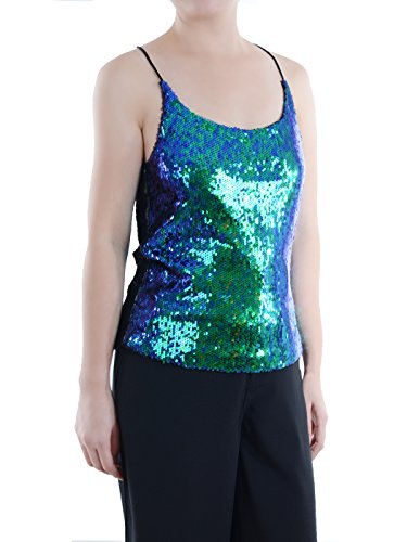 Anna-Kaci Womens All Over Shiny Sequin Spaghetti Strap Vest Tank Top, Mermaid, Medium ()