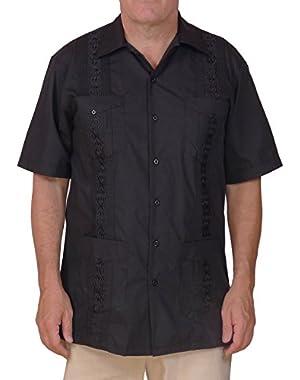 Cuban Style Guayabera Shirt / Black