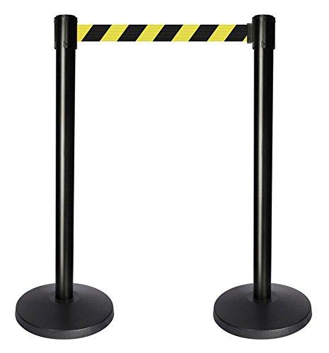 QueueWay PLUS - QPLUS-33-D4 - black post, 2'' wide, 10' length Chevron Black & Yellow belt  (Set of 2)