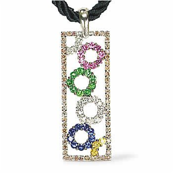 18k White Gold Brown White Diamond Multi Sapphire Open Geometrics Pendant