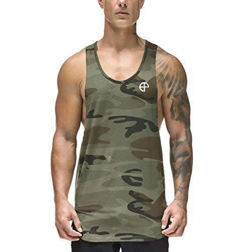 Letdown_Men tops Slim fit Tank top Men's Tank Top Sleeveless Muscle Fitness T-Shirt Camo A-Shirt Hip Hop Bodybuilding Vest