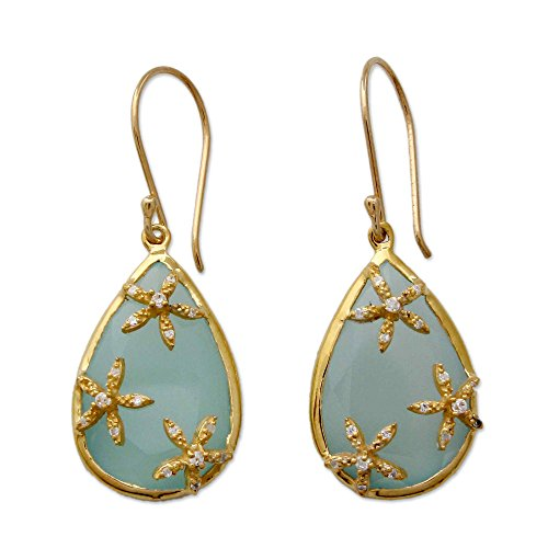 NOVICA Multi-Gem Chalcedony 18k Gold Vermeil Earrings 'Aqua Floral Kiss'