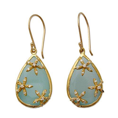 Chalcedony Floral Earrings - NOVICA Multi-Gem Chalcedony 18k Gold Vermeil Earrings 'Aqua Floral Kiss'