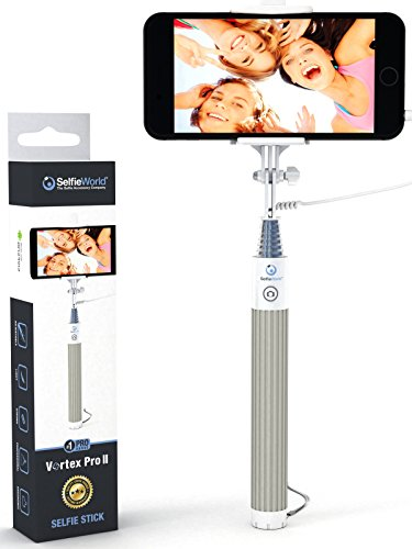 Selfie Stick, Easy Plug 'n Play Cable Operation - Advanced Monopod For iPhones (iOS 5.0+), Samsung Galaxy, Note, Android Phones (4.3+) - Takes HD Photos, Video, Operates Flash (Apple Iphone 4s Accesories compare prices)