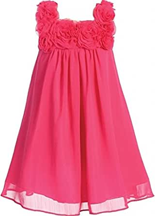Amazon.com: Little Girls Elegant Chiffon Floral Baby Doll ...