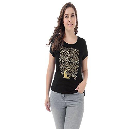 Summer in Camicetta Shirts NASHALYLY Le età Donna Traspirante Top T per Cotone Donna Stampata Tutte Nero Fit Shirt Corte Stampato T Maniche Moda T6vXpWq