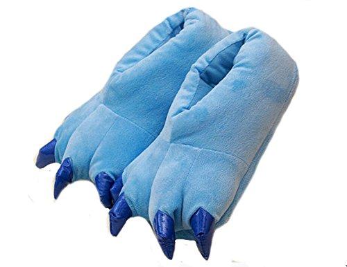 Zapatos Animal-LATH.PIN- Zapatillas de Felpa Unixeso para Halloween Carnaval Cosplay La Pata de Las Garras Azúl