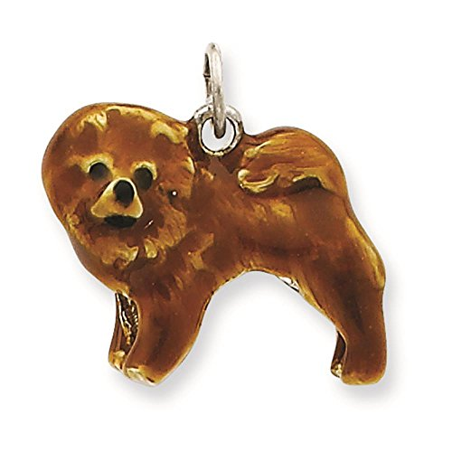 - 925 Sterling Silver 3-D Enameled Chow Dog Charm Pendant