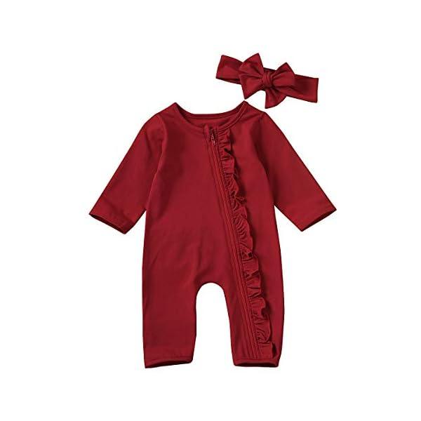 Carolilly Pagliaccetto Neonato Natale Body a Manica Lunga Bimba Tutina Neonato Cotone Pigiama Neonato 1