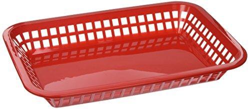 Burger 6x Fast Food Rectangular Grande Platter Baskets Chips Black or Red