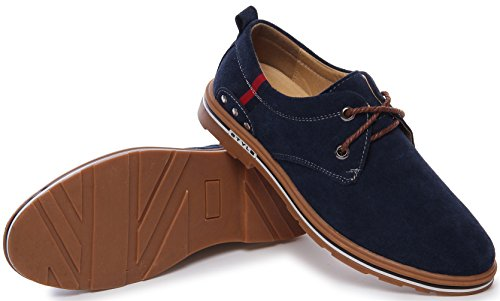 PPXID Men's Suede Leather Lace Up Casual Oxford Shoes-Blue 9 US size