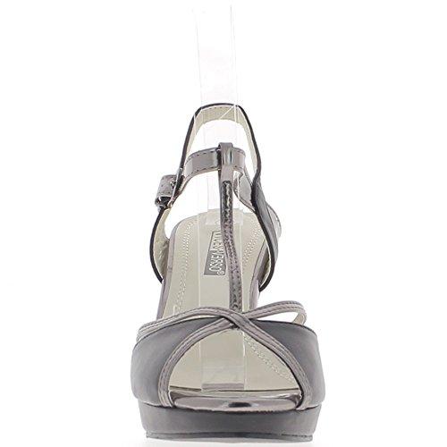 Tacco spesso Sandali Nero 9, piattaforma di 5cm con argento fine morsetti