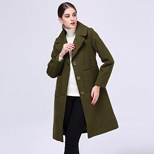 de Mujeres Abrigo las WanYang Chaquetas la Verde las Largo Abrigo Señoras Moda de del Invierno Señoras Señoras para qXfSUSwP